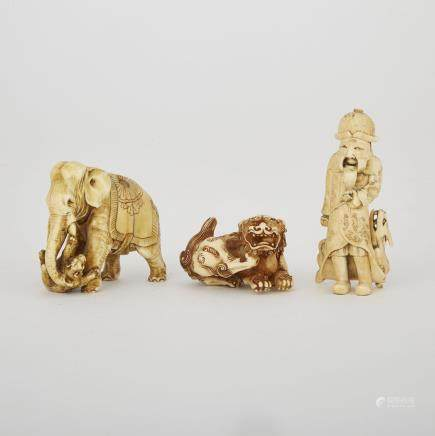 "Two Carved Ivory Netsuke and a Carved Ivory Elephant, Meiji Period, tallest height 2.8"" — 7 cm. (3 Pieces)"