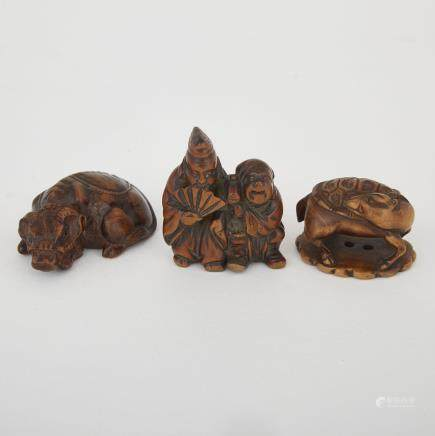 "Three Carved Wood Netsuke, Meiji Period, tallest height 2"" — 5 cm. (3 Pieces)"