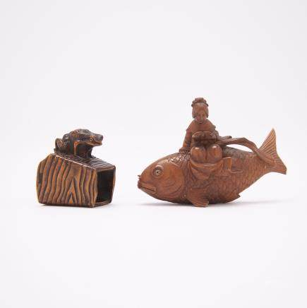 "Two Carved Wood Netsuke, Meiji Period, tallest height 1.8"" — 4.5 cm. (2 Pieces)"