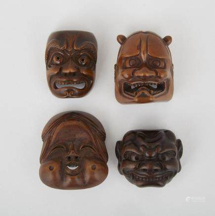 "Four Carved Wood Mask Netsuke, Meiji Period, tallest height 1.7"" — 4.4 cm. (4 Pieces)"