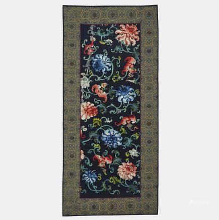 "A Bats and Peonies Embroidered Panel, Early 20th Century, excluding border 34.3"" x 12"" — 87 x 30.5 cm."