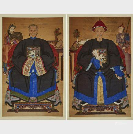 "A Pair of Ancestor Scrolls, 19th Century, 59.6"" x 37.2"" — 151.5 x 94.5 cm. (2 Pieces)"