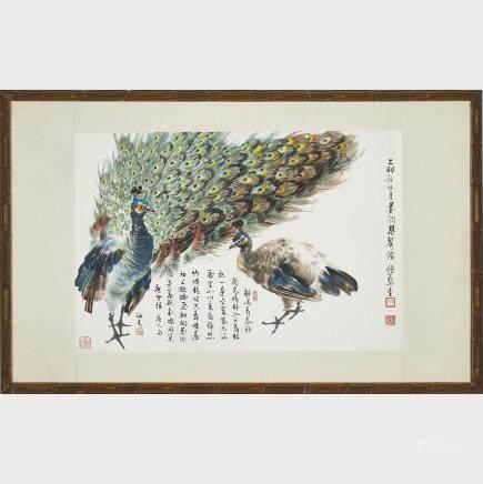 "Wu Yisheng 伍彞生 (1929-2009), Two Peacocks, 13"" x 19.1"" — 33 x 48.5 cm."