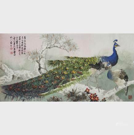 "Wu Yisheng 伍彞生 (1929-2009), Two Peacocks on Tree Branch, 27.2"" x 53.3"" — 69 x 135.5 cm."