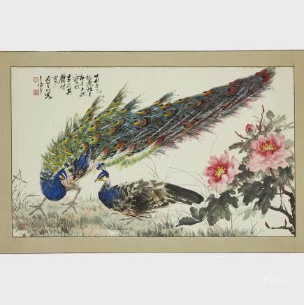 "Wu Yisheng 伍彞生 (1929-2009), Two Peacocks on Grass, 44"" x 26.2"" — 111.8 x 66.5 cm."