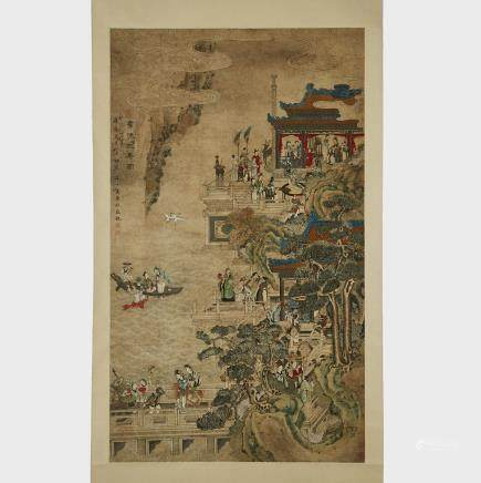 "Attributed to Wan Shouqi 萬壽祺 (1603-1652), Celebratory Scroll, 18th Century or Earlier, 67.5"" x 39.8"" — 171.5 x 101 cm."