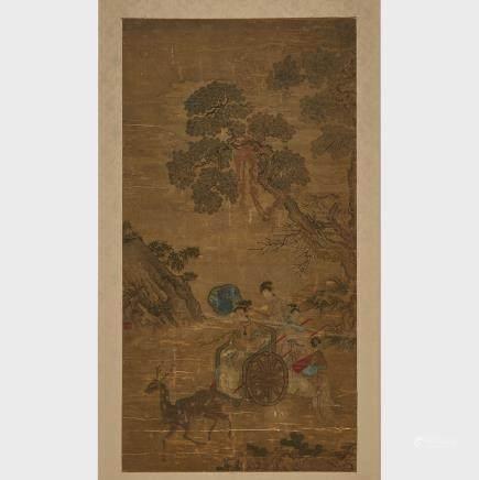 """Magu and Entourage, 17th/18th Century, 38"""" x 19.7"""" — 96.5 x 50 cm."""
