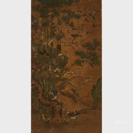 "Flower and Birds Painting, 18th/19th Century, 74.4"" x 39.4"" — 189 x 100 cm."