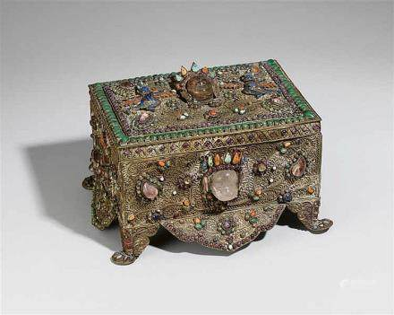 A large Nepalese copper box inset with a variety of semi-precious stones