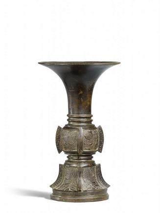 A heavy bronze altar vase. Ming dynasty