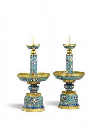 A pair of cloisonné enamel pricket candlesticks