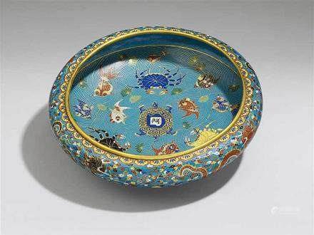 A shallow cloisonné enamel bowl. 19th century
