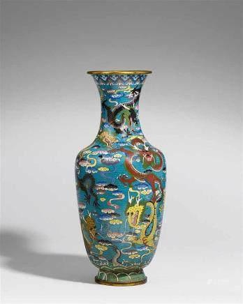 A large cloisonné enamel vase. 19th/20th century