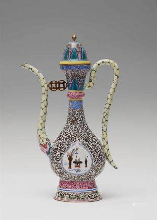 A Canton painted enamel ewer. 20th century
