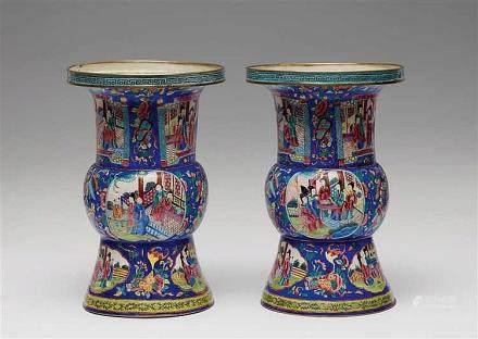 A pair of Canton painted enamel vases. Around 1900