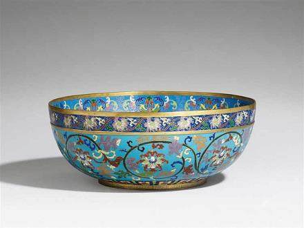 A large cloisonné enamel bowl. Around 1900