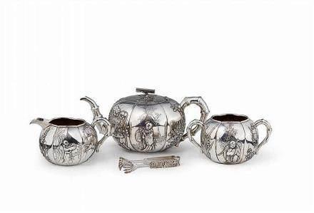 A silver tea set. Shanghai. Around 1900