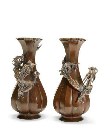 A PAIR OF PATINATED BRONZE 'DRAGON' VASES
