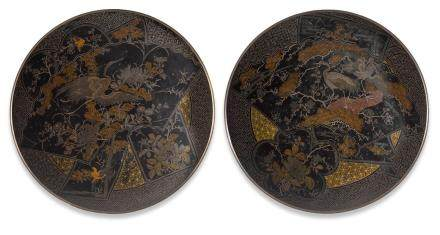 A PAIR OF LACQUER DECORATED BRONZE PLATES