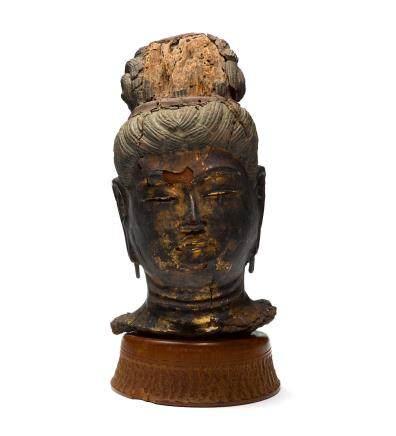 A GILT LACQUER HEAD OF A BODHISATTVA