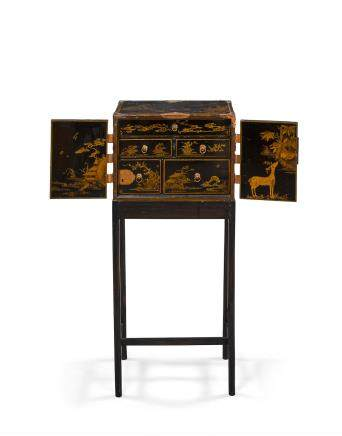 A 'JAPANNED' LACQUER AND WOOD CHEST-ON-STAND