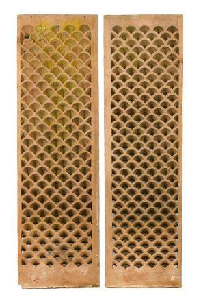 TWO NORTH INDIAN SANDSTONE JALI SCREENS