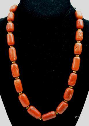 Tibetan Coral Bead Necklace; weight 101 Grams