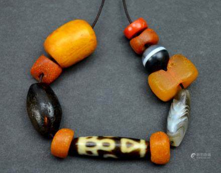 Group of Tibetan Agate, Coral, Amber & 1 Dzi Bead