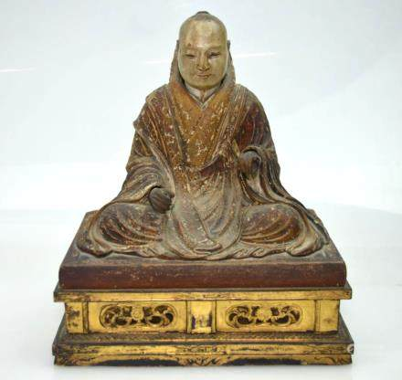 Fine 18th C Japanese Carved Portrait of Priest