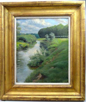 American Impressionist Landscape Oil on Canvas