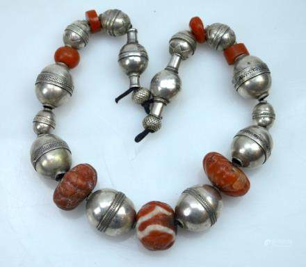 Antique Tibetan Carnelian & Silver Bead Necklace