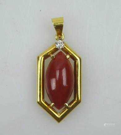 Fine Aka Dark Coral Cabochon in a Gold Pendant