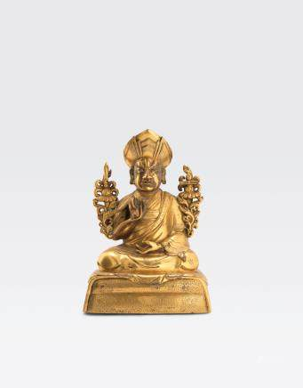 A gilt copper alloy figure of the Third Changkya Hutuktu, Rolpai Dorje Qianlong period