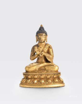 A gilt copper alloy figure of Buddha Qing dynasty, 18th/19th century