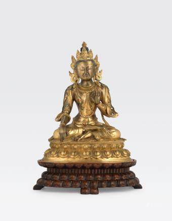 A LARGE GILT COPPER ALLOY FIGURE OF A BODHISATTVA Qianlong period