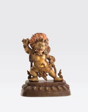 A GILT COPPER ALLOY FIGURE OF VAJRAPANI Qianlong mark and period