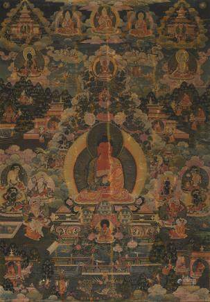A THANGKA OF AMITABHA Qing dynasty, 18th century