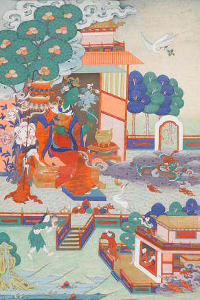 A THANGKA OF TARA WHO PROTECTS FROM THE DANGER OF FIRE Eastern Tibet, circa 19th century