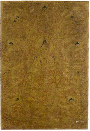 A GOLD-GROUND THANGKA OF AKSHOBYA Tibet, 18th/19th century