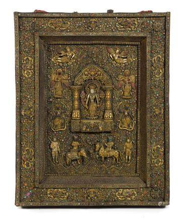 A LARGE GILT-METAL FILIGREE AND INSET STONE VOTIVE PLAQUE Nepal, circa 19th century