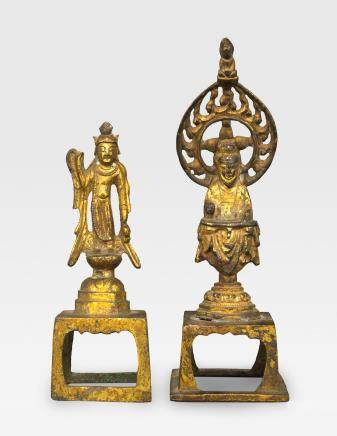 TWO SMALL GILT BRONZE RELIGIOUS FIGURES