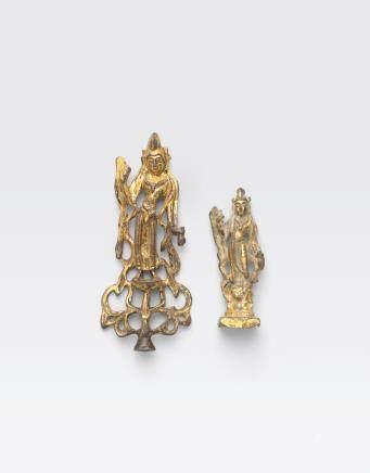 TWO MINIATURE GILT BRONZE BUDDHIST FIGURES Tang dynasty