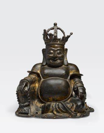 A CAST BRONZE FIGURE OF THE CROWNED BUDAI Ming dynasty