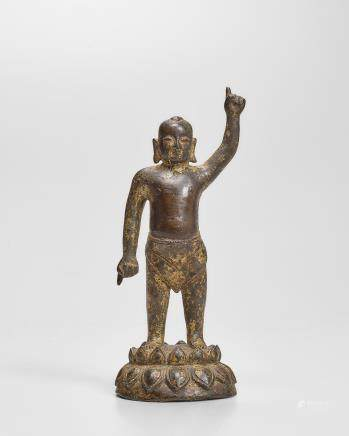 A GILT BRONZE FIGURE OF THE INFANT BUDDHA 17th century