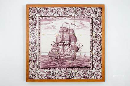 A manganese Dutch Delft tile panel with a ship, 18th C.