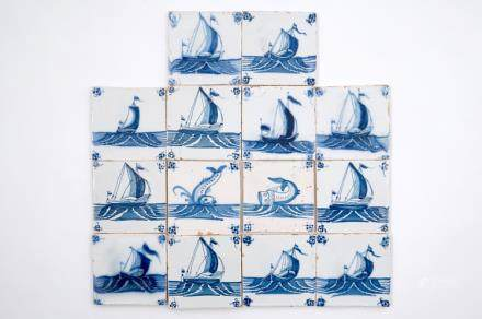14 blue and white Delft tiles with boats and sea creatures, 18th C.