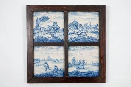 """A set of four Dutch Delft blue and white """"Open landscape"""" tiles, 18th C."""