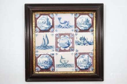 A set of nine framed Dutch Delft tiles, 18th C.