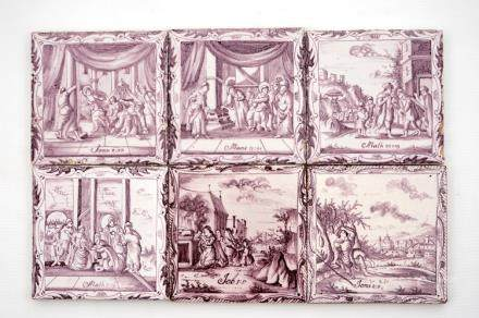 A set of six manganese Dutch Delft biblical tiles, 18th C.