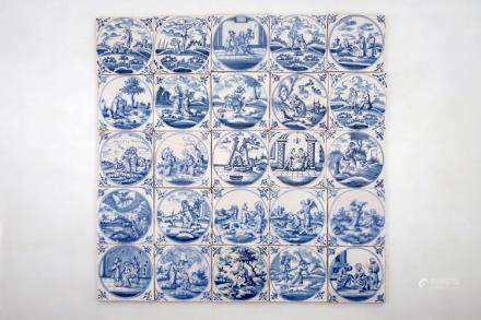 A set of 25 blue and white Dutch Delft biblical tiles, 18th C.